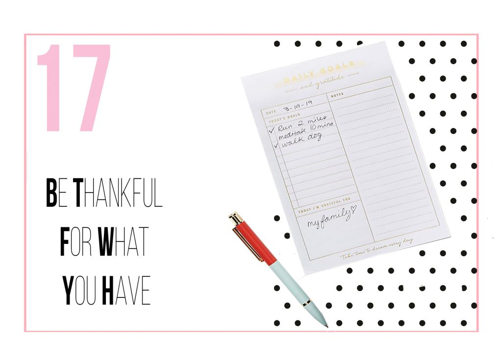 Tips for dealing with stress - Be thankful for what you have