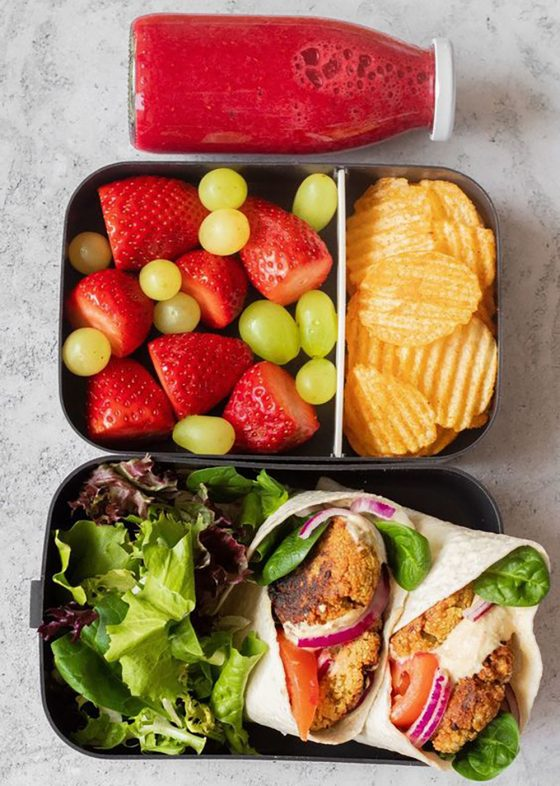 Falafel Wraps Bento Box with Fruit, Chips, and a Smoothie