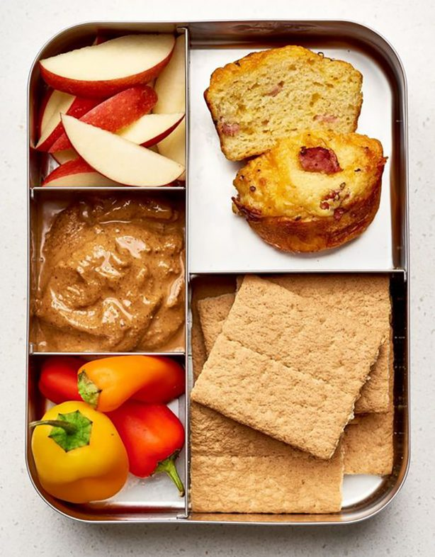 Ham and Cheddar Muffin Box with Apples, Peppers, Graham Crackers, and Nut Butter