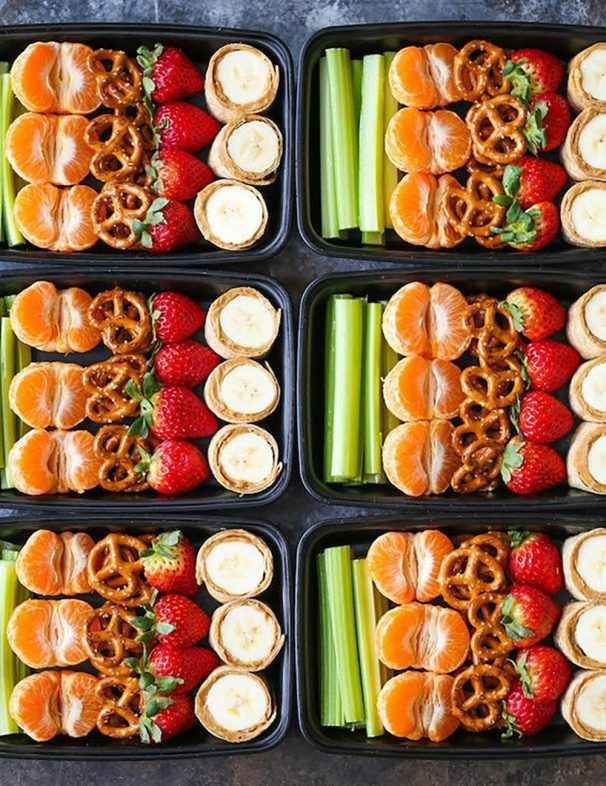 Peanut Butter & Banana Roll Ups Lunch Box with Fresh Fruit, and Pretzels