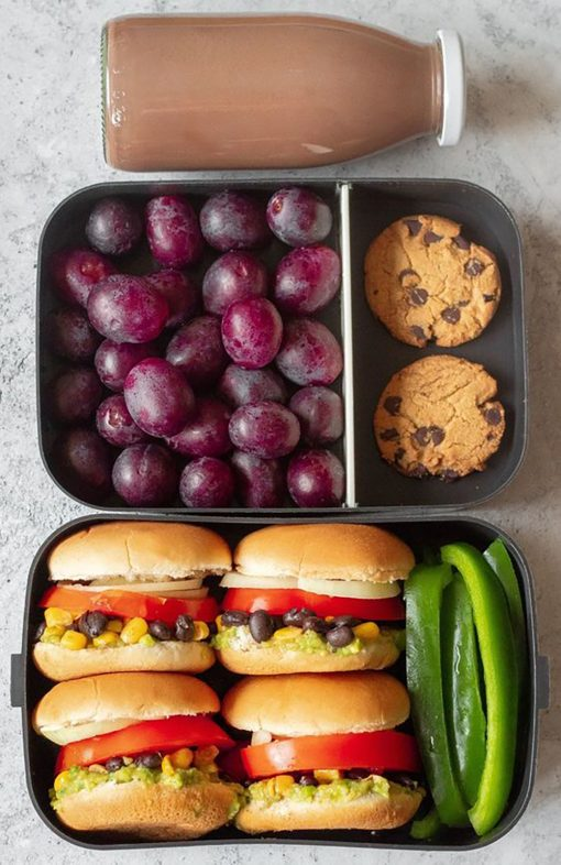 Veggie Sliders Snack Box with Grapes, Cookies, and Healthy Chocolate Milk