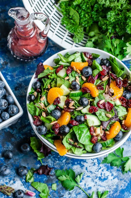 cranberry blueberry spring mix salad blueberry balsamic dressing recipe peasandcrayons