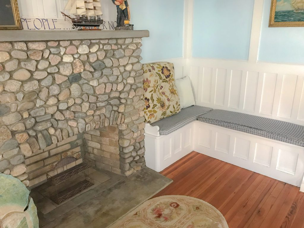 The cottages stone fireplace