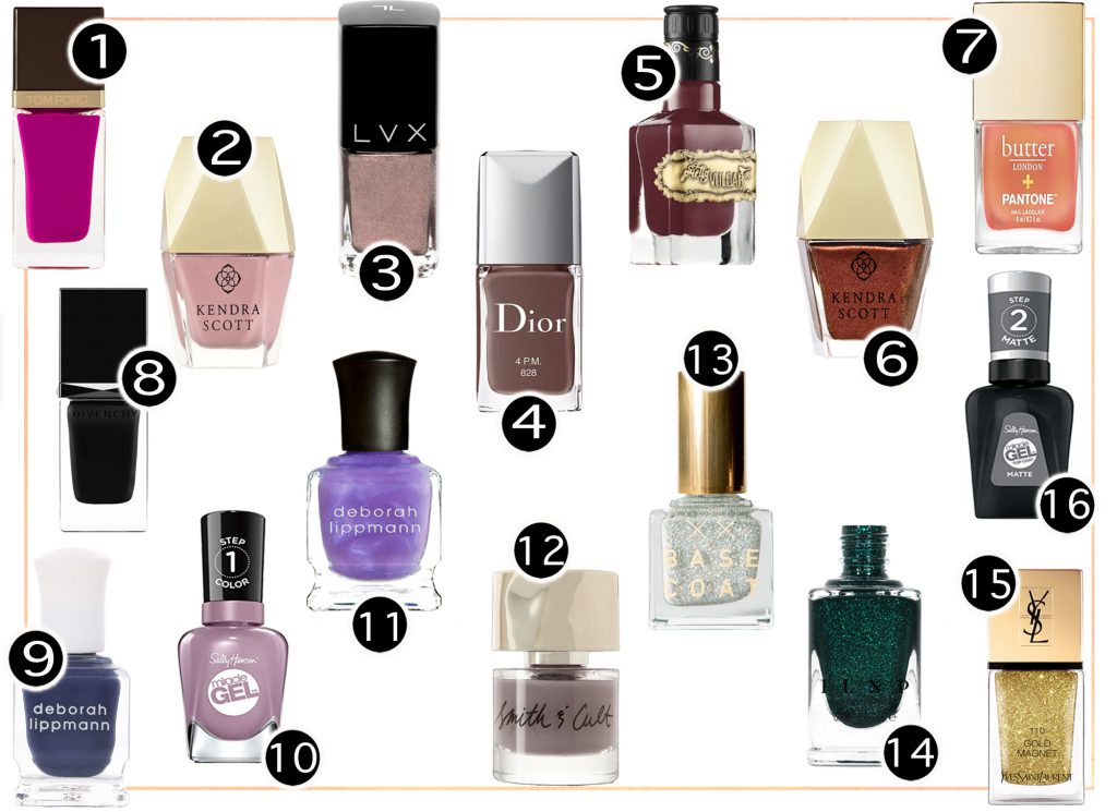 My go to polishes for autumn are complementary to my makeup color choices. I also love to apply bold shades like navy, orange, wine, blush, violet, and metallics.