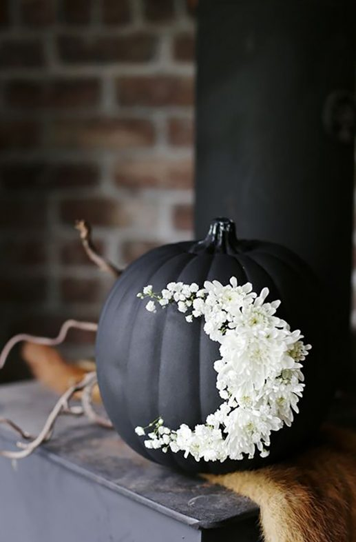 DIY Floral Matte Black Pumpkin