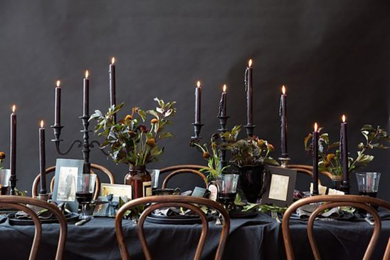 Elegant Halloween Party Table Setting