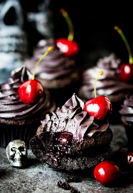 Black Cupcakes with Cherry Filling