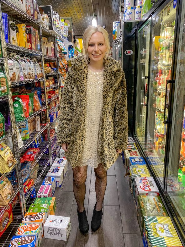 Sequins and faux fur animal print