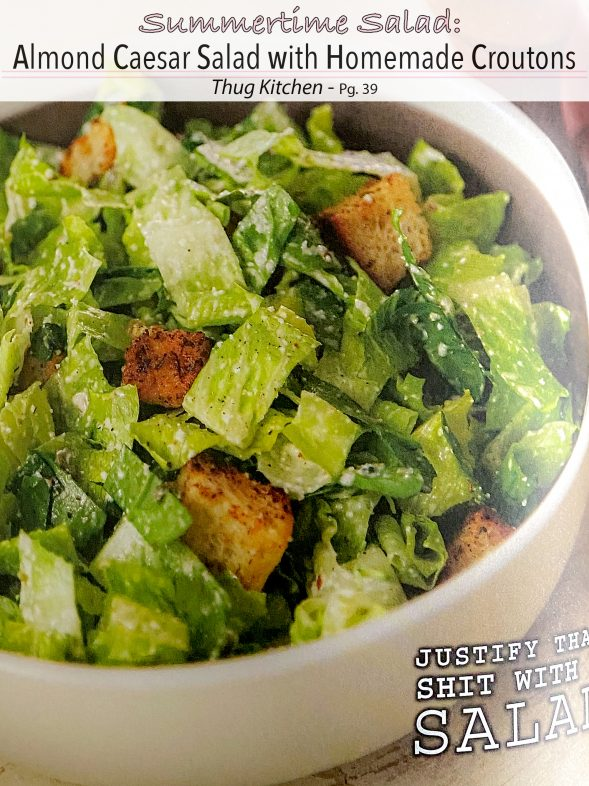 Plant-Based Recipes: Almond Caesar Salad with Homemade Croutons from Thug Kitchen
