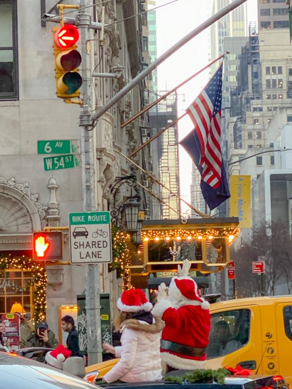 Santa in a convertible in New York City