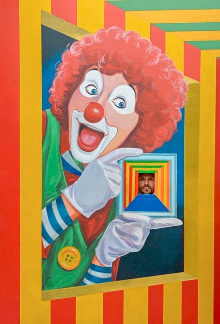 The circus clown at the Museum of Illusions made Billy look miniature.