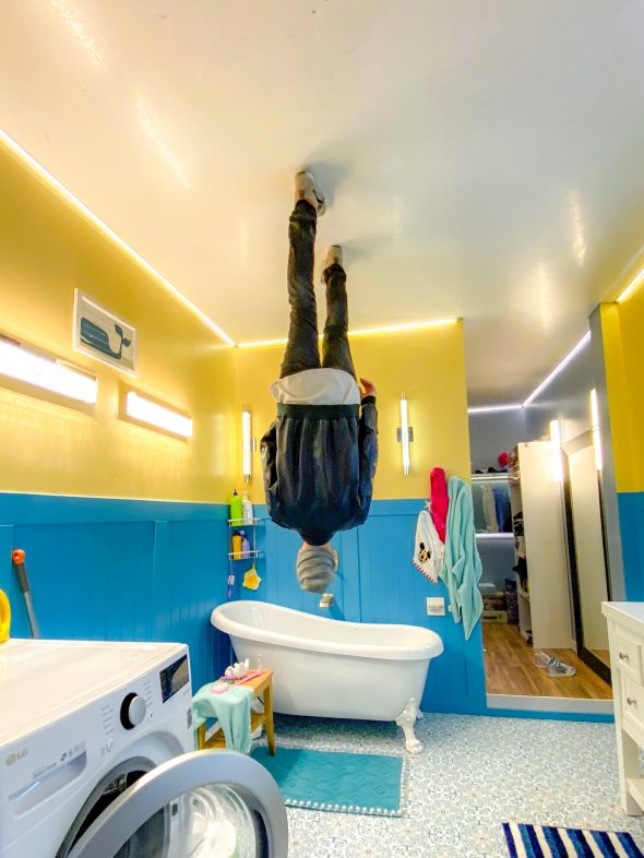 Next, we visited the bright and cheery upside bathroom.