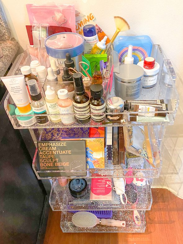 What I Loved in February 2020: This Acrylic Glitter Rolling Cart