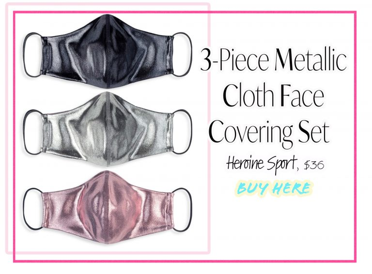 Cloth Face Coverings: 3-Piece Metallic Face Masks by Heroine Sport