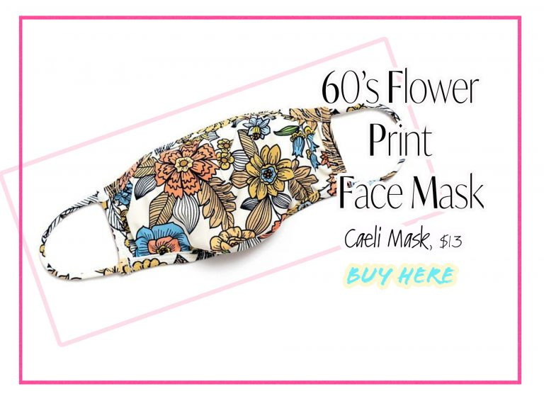 Cloth Face Coverings: 60's Flower Print Mask by Caeli Mask