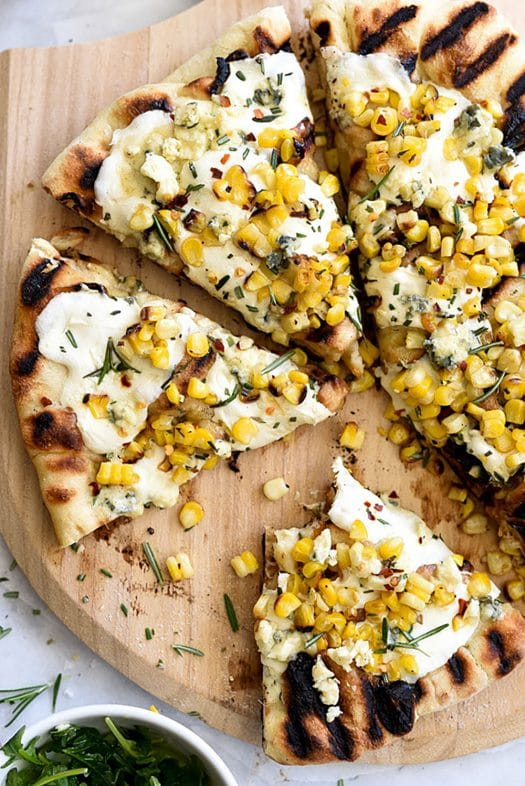 20 Picnic Recipes To Kick Off The Start of Summer: charred corn and rosemary grilled pizza: