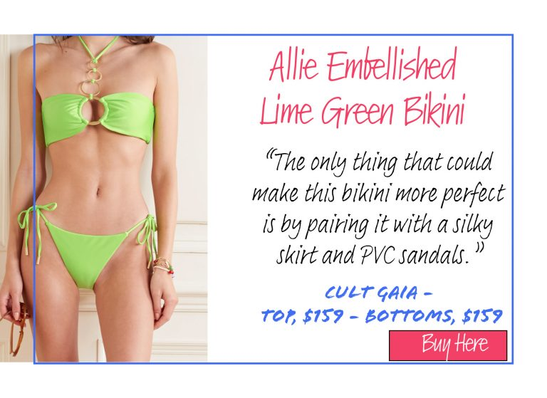 A List of 15 of Our Favorite Swimsuits for 2020: Allie Embellished Lime Green Bikini