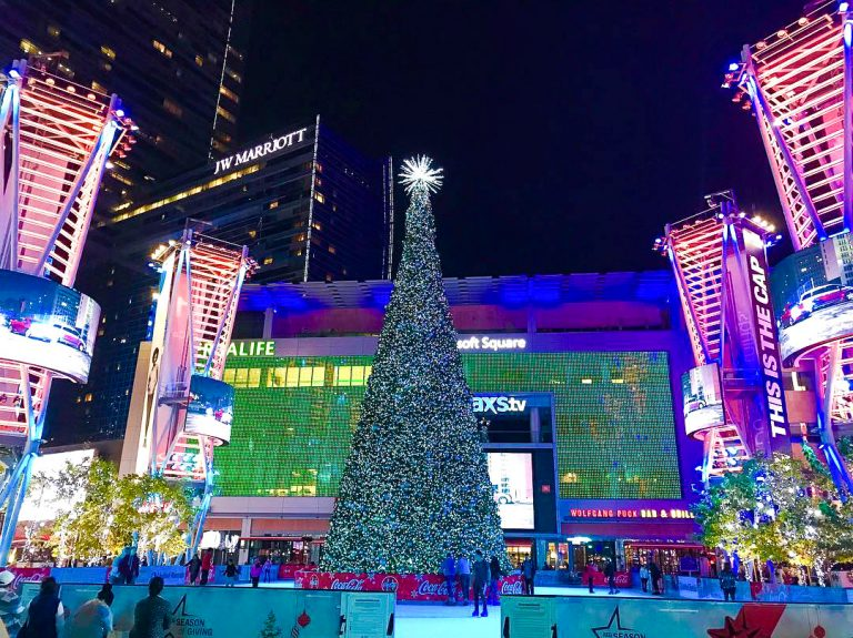What I'll Miss Most About Living in Los Angeles: The ice skating rink and Christmas tree at L.A. Live