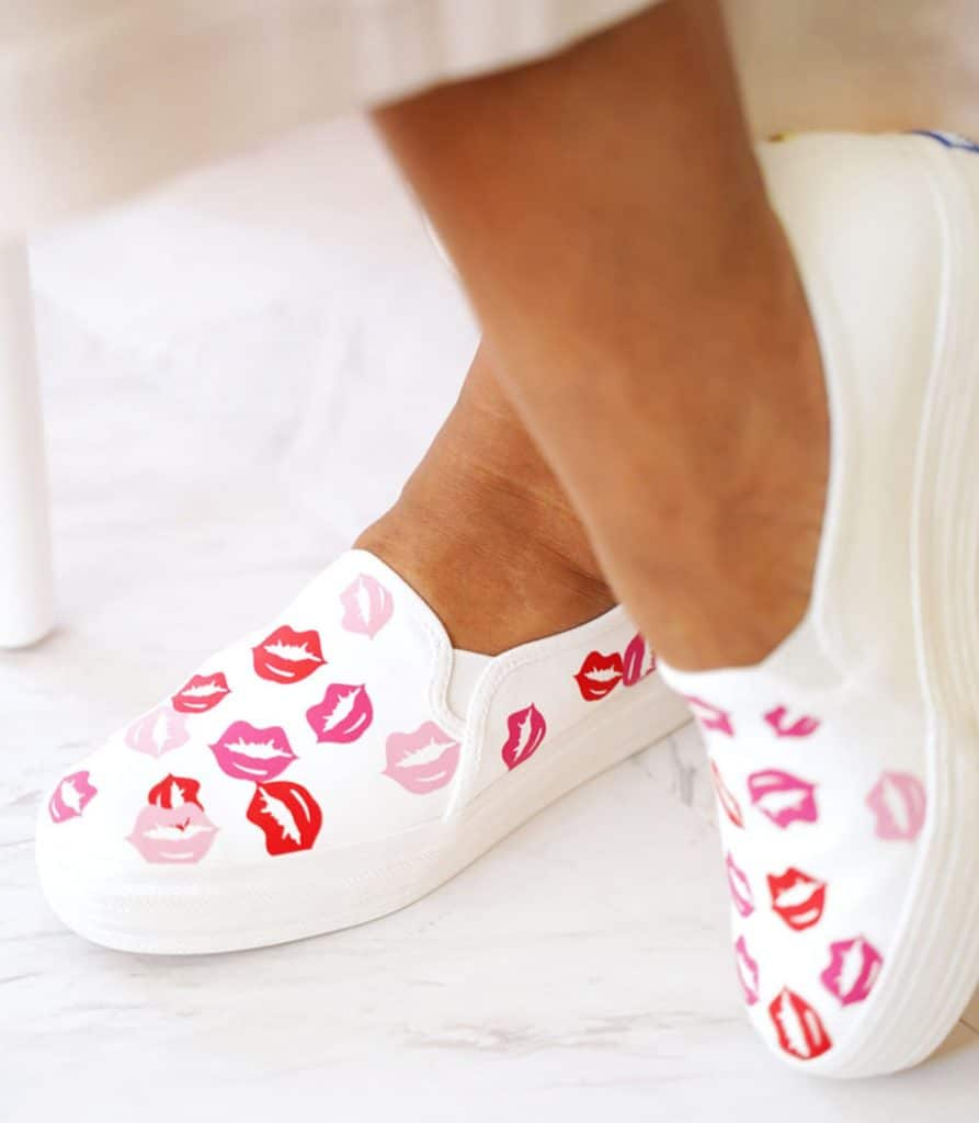 DIY Cricut Gifts: Sneakers with Colorful Lips