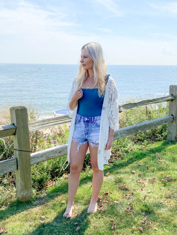 My Favorite Looks So Far This Year: a teal Amuse Society bodysuit and Superdown denim shorts