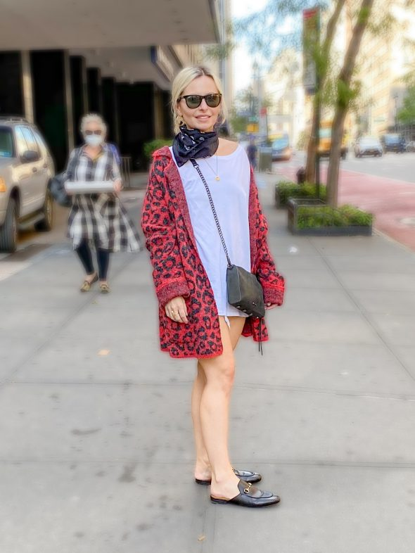 My Favorite Looks So Far This Year: an animal print cardigan and Gucci mules