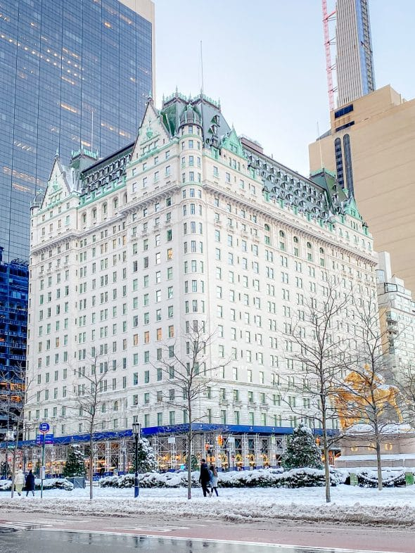Christmas in NYC: The Plaza Hotel covered in snow