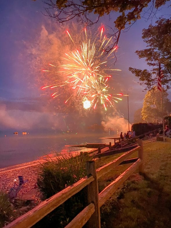 Memories of the summer: fireworks over Long Island Sound