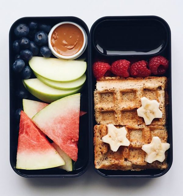 Breakfast Waffle Bento Box with Maple Syrup, Fruit, and Almond Butter