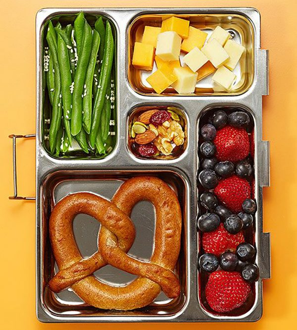 Pretzel Lunch Box with Cheese Cubes, Fruits & Nuts, and Veggies