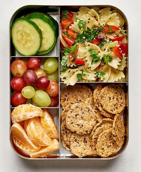 Bowtie Pasta Salad Picnic Lunch with Crackers, Fruit, and Veggies